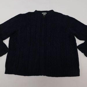 Eddie Bauer 2XL Blue Full Zip Sweater  Cotton